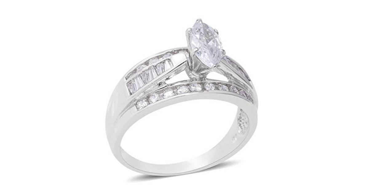 925 Sterling Silver Marquee Cubic Zirconia CZ Statement Ring for Women Jewelry Cttw 2.7